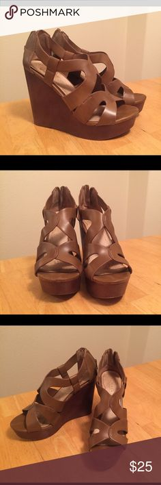 Aldo Cognac Cut Out Wedges Size 9 Brown, Genuine Leather Purchased used, only worn once. Genuine leather Aldo wedges. So extremely comfortable to wear! They look good with almost everything! Offer is flexible, lets make a deal! Aldo Shoes Wedges
