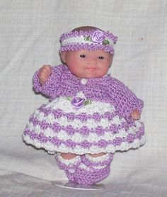 """For the 5"""" size ITTY BITTY, LOTS TO LOVE, MY SWEET LOVE MINI, OOAK (ONE OF A KIND) and BERENGUER BABY DOLLS. Features a sweet little six piece outfit. Lacy lilac jacket with tiny white button, lilac and white sundress dress. 