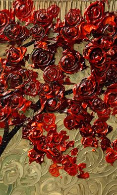 ORIGINAL Large Abstract Green Red Rose Blooming Tree Acrylic