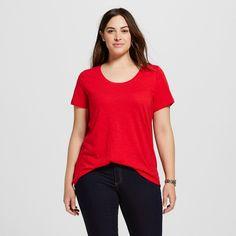 Women's Plus Size Scoop Neck Tee Really Red 3X - Ava & Viv