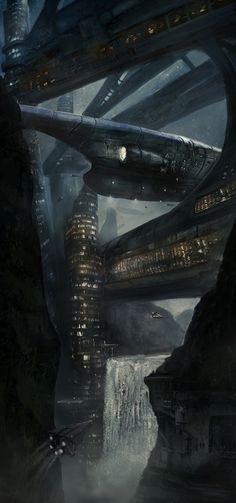 CONCEPT ART--Waterfall city port by LMorse   (deviantART - Futuristic Architecture: http://futuristicnews.com/category/future-architecture/)