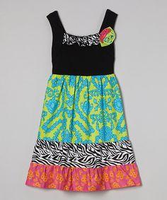 Youngland Black & Pink Jungle Babydoll Dress - Girls by Youngland #zulily #zulilyfinds