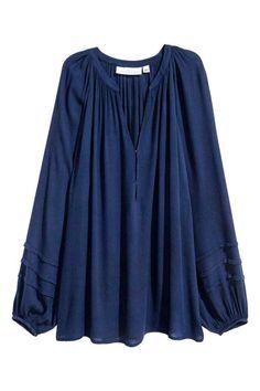Blouse en crêpe - Bleu foncé - FEMME   H&M FR 1