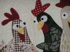 Quilted wall panel, the goshiping hens by AlexCraftsStore on Etsy