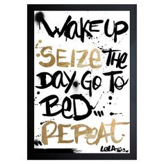 Bring a pop of panache to your bedroom wall with this bold hand-framed print, featuring a black and gold handwriting motif.   Produ...