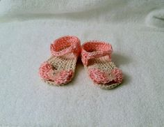 Handmade Crochet Newborn Baby Sandals Pink and by HaldaneCreations, $6.00
