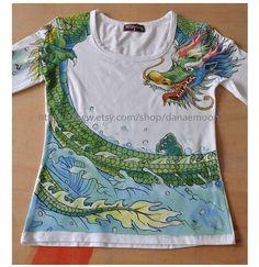 Women's Tshirt handpainted Tshirts handpainted dragon by danaemoon, $65.00