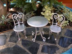 Pretty Patio Set for Miniature, Terrarium, Fairy Garden, Chrome Silver Set of 3