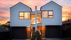 Catherine Heraghty is a master interior stylist, but she's an exteriors guru too. Take a peek at what was used in her stunning duplex facade. Townhouse Designs, Duplex House Design, Duplex House Plans, Coastal Bathrooms, House Prices, Architecture, House Styles, Houses, 12 Weeks