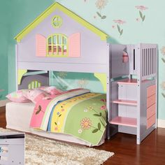 Donco Kids Twin Doll House Loft Bed with Staircase | Wayfair