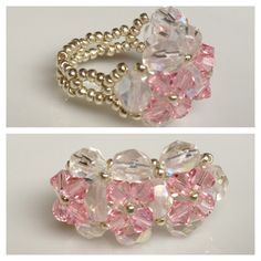 Swarovski Crystal Beaded Ring (cherry blossoms) Seed Bead - Yuki's Rings