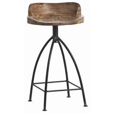 Kitchen Bar Stools - Henson Wood Iron Swivel Stool by Arteriors. Available as a bar stool or counter stool.