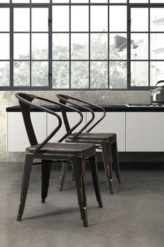 """Helix Gunmetal Chair - Set of 2 by Zuo Modern on @HauteLook This chair is made of a solid steel frame in a polished galvanized steel finish. - Color: Gunmetal - Set of 2 - Approx. 18.3"""" W x 17.9"""" L x 31"""" H - Seat height: 17.9"""" - Imported"""