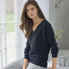 Waffle Stitch Hooded Jumper   Loungewear   Clothing   The White Company UK