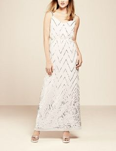 Wow! Such a gorgeous sparkly chevron sequin maxi dress.