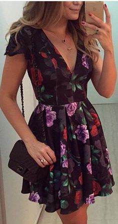 Backless Deep V-neck Flower Print Flared Short Dress - Meet Yours Fashion - 1