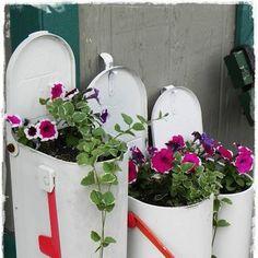 Caixas de correio feitas como floreiras.