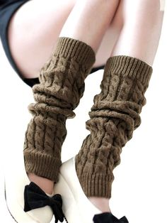 Women's Cable Knit Leg Warmers Ribbed Crochet Legging Long Boot Socks, Coffee Thigh High Socks, Thigh Highs, Winter Socks, High Knees, Leg Warmers, Knit Crochet, Thing 1, Knitting, Casual