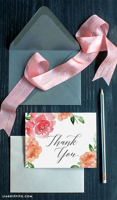 Watercolor Peony Thank You Card
