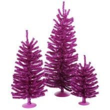 Set of 3 Fuchsia Artificial Tinsel Christmas Trees, Unlit