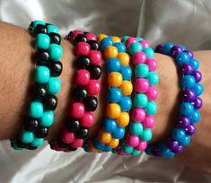 Items similar to 5 EDM Kandi ladder stitch (you pick colors) on Etsy Diy Kandi Bracelets, Rave Bracelets, Pony Bead Bracelets, Pony Beads, Word Bracelets, Pony Bead Patterns, Kandi Patterns, Beading Patterns, Stitch Patterns