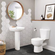 Pedestal Basin, Vanity Basin, Bathroom Basin, Bathroom Inspo, Modern Bathroom, Close Coupled Toilets, Modern Toilet, Pebble Grey, Wash Hand Basin