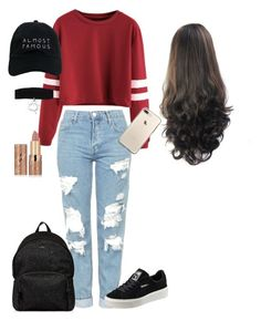 """""""Casual School Outfit"""" by galaxyy-wolf ❤ liked on Polyvore featuring Topshop, Nasaseasons, tarte, Hogan and Puma"""