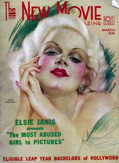 The New Movie Magazine March 1932 Cover There's a Charles Sheldon portrait of Jean Harlow on the cover -Carole Lombard's dazzling smile, magnificently captured by Otto Dyar, is among the many highlights