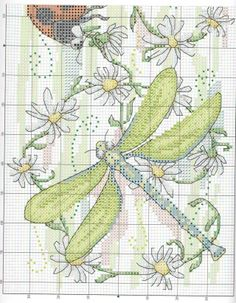 Cross-stitch Dragonflies & Ladybug, part 1 ...  no color chart available, use pattern chart as your color guide..  or choose your own colors...   ю