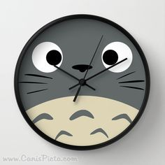 Curiously Totoro Wall Clock in Natural Wood, Black, or White Frames Anime Grey Manga Troll Hayao Miyazaki Studio Ghibli Gift Home Decorative  This Listing is for ONE Wall Clock. Available in 3 color frames: Natural Wood, Black, or White. And 2 hand colors: Black or White.  Need more Totoro? Weve got some bundles and sets available! ➳ https://www.etsy.com/listing/248664654/baby-bundle-totoro-kawaii-my-neighbor ➳ https://www.etsy.com/listing/247917467/baby-bundle-totoro-kawaii-my-neighbor…