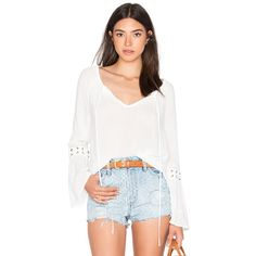 WAYF Eyelet Blouse (2585 NIO) ❤ liked on Polyvore featuring tops, blouses, fashion tops, white top, rayon blouse, grommet top, white eyelet top and white blouse