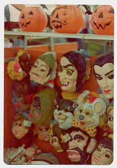 Wall full of vintage Halloween masks and pumpkins retro kitsch costumes kids children Halloween Masks, Holidays Halloween, Halloween Queen, Happy Halloween, Halloween Supplies, Halloween Greetings, Halloween Items, Halloween Season, Halloween Night