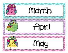 Owl Classroom Theme Items {calendar cards, desk plates, etc..} image 3