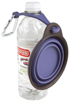Popware for Pets Collapsible Travel Cup with Bottle Holder -- now this makes sense
