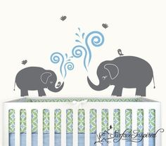 Baby Nursery Wall Decals Nursery Elephants with by SurfaceInspired, $50.00