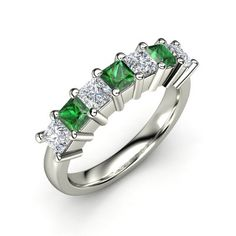 Seven-Stone Artisan Band #customizable #jewelry #diamond #emerald #palladium #ring