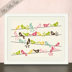 Girls or Boys Nursery Art Birds on a Wire by pitterpatterpress, $24.00
