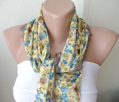Yellow color blue flowers desing  with light brown by Periay, $16.00
