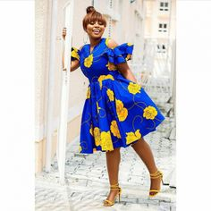 Flowery Cold Shoulder African Dress | African Print Dresses | African Clothing Styles African Party Dresses, African Bridesmaid Dresses, African Dresses For Women, African Print Dresses, African Fashion Dresses, African Women, African Dress Styles, Ankara Styles, Flowery Dresses