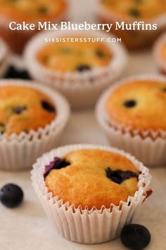 Breakfast is ready with a just a few ingredients. With fresh blueberries and a yellow cake mix, these turn out perfectly soft and delicious every. single. time. Cake Mix Muffins, Chocolate Cake Mix Cookies, Simple Muffin Recipe, Cake Mix Cookie Recipes, White Cake Mixes, Muffin Recipes, Easy Recipes, Cheap Recipes, Blue Berry Muffins