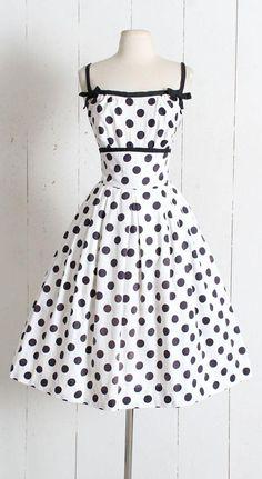 Vintage 1950s Dress vintage 50s black white cotton polka dot