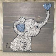 Baby Elephant/Love String Art, Nursery Art- order from KiwiStrings on Etsy! www.kiwistrings.etsy.com