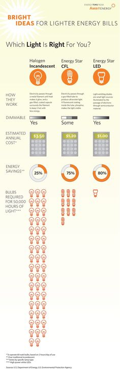 earthhour: Make the switch to energy efficient LED bulbs! (source) What an excellent infographic on how you can save money and be more energy efficient if you were to switch to CFL or LED bulbs in your home or business. Energy Efficient Lighting, Energy Efficient Homes, Energy Efficiency, Energy Saving Tips, Save Energy, Renewable Energy, Solar Energy, Solar Power, Ambit Energy