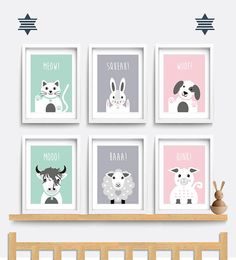 Nursery wall art. Set of 6 farm animal prints. Baby Nursery print. Nursery decor. Highland cow print. Pig print. Sheep print. Horse print