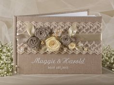 Hey, I found this really awesome Etsy listing at https://www.etsy.com/listing/174989823/wedding-guest-book-guestbook-lace-shabby