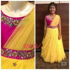 Kids Party Wear Gown Choice on fabric material designing and sizes are availabl Kids Party Wear Dresses, Kids Dress Wear, Baby Girl Party Dresses, Kids Gown, Dresses Kids Girl, Kids Wear, Kids Saree, Kids Lehenga, Baby Girl Lehenga