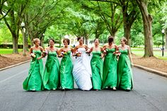 outdoor bride with bridesmaids