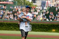 Patrick Sharp and Madelyn take in a game at the Friendly Confines.