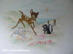 Muurschildering van Bambi voor op de babykamer of kinderkamer. Bekijk ook mijn Facebookpagina:  https://www.facebook.com/esthersmuurschilderingen/