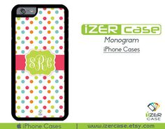 Monogram Personalized iPhone 6/6S Case, iPhone 6/6S PLUS, iPhone 5/5S,  iPhone 5C, iPhone 4/4S Happy Colors Polka Dots